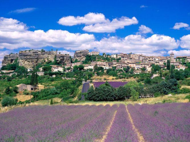clouds landscapes hills France wallpaper