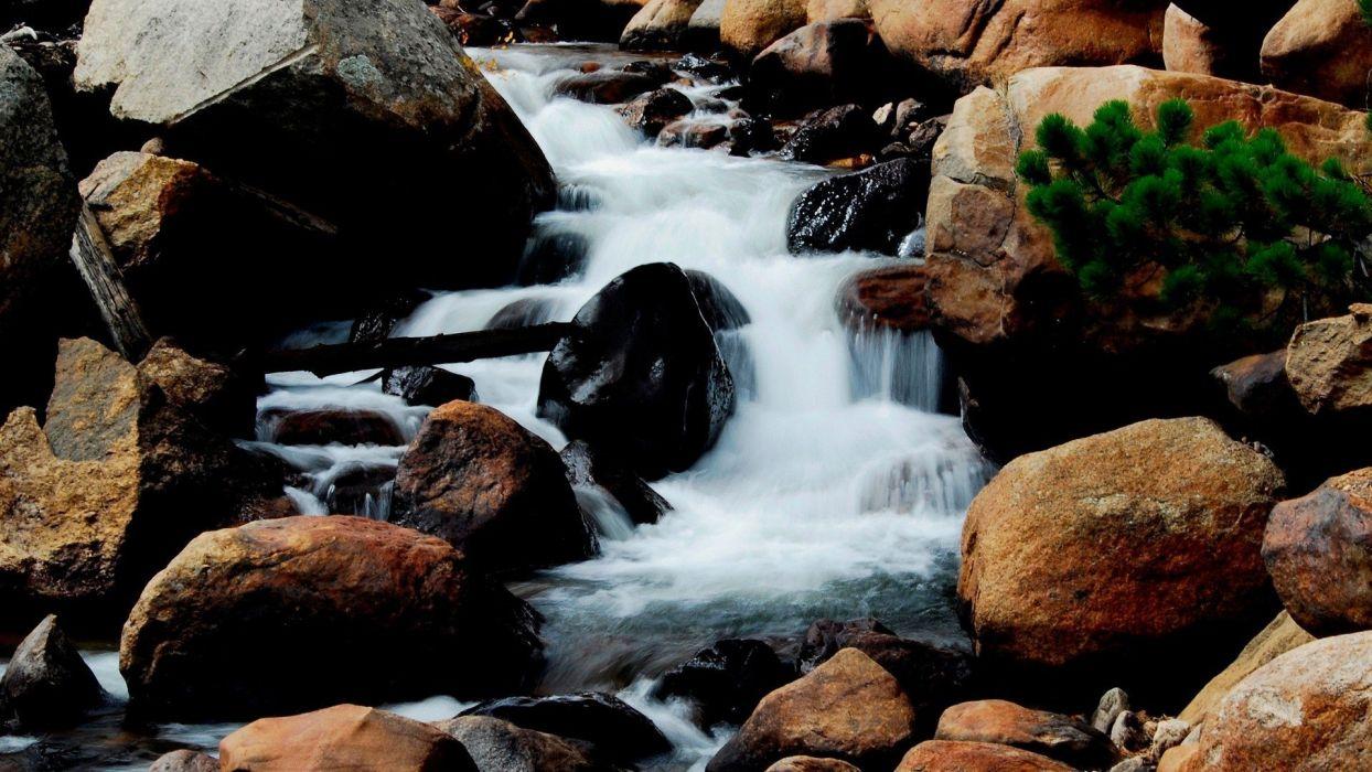 nature rocks creek scenario wallpaper