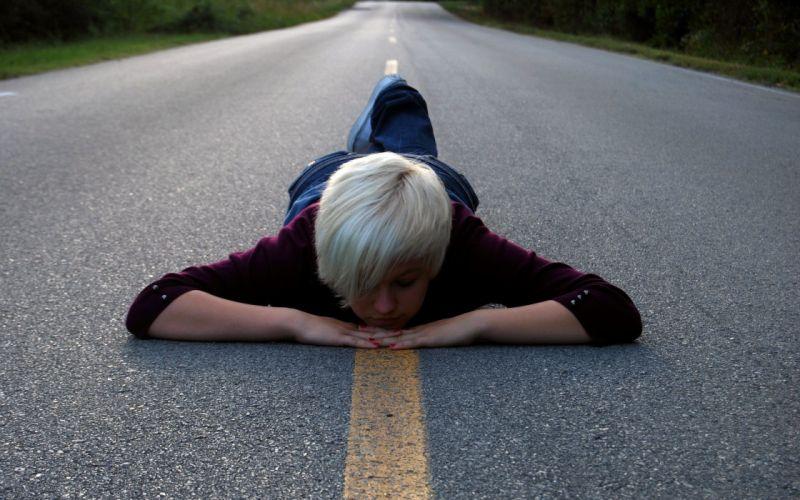 women short hair roads lying down white hair wallpaper