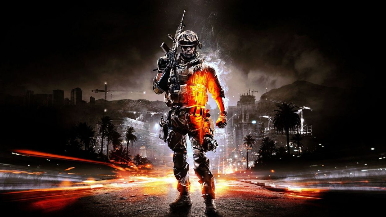 soldiers video games Battlefield guns lights weapons Battlefield 3 cities time lapse game wallpaper