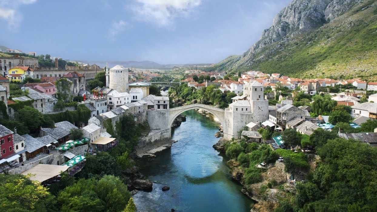 landscapes nature bridges towns Mostar rivers Bosnia and Herzegovina townscape natural scenery town wallpaper