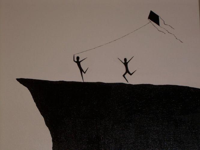minimalistic kite artwork wallpaper