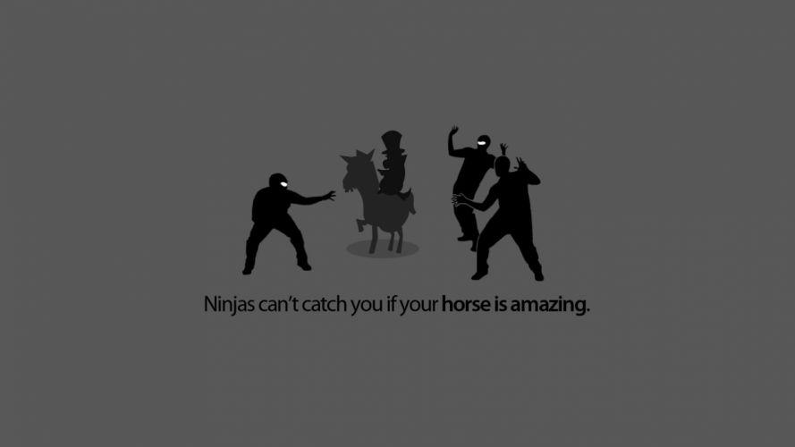 ninjas ninjas cant catch you if horses wallpaper