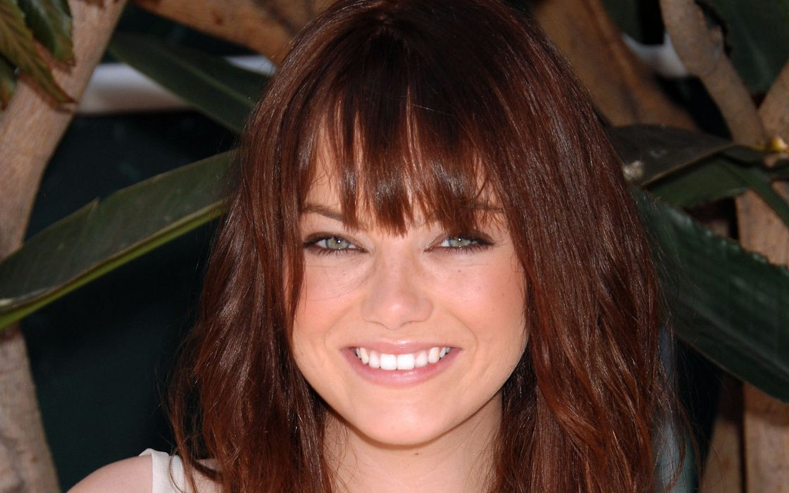 brunettes women close-up redheads outdoors Emma Stone green eyes smiling faces wallpaper