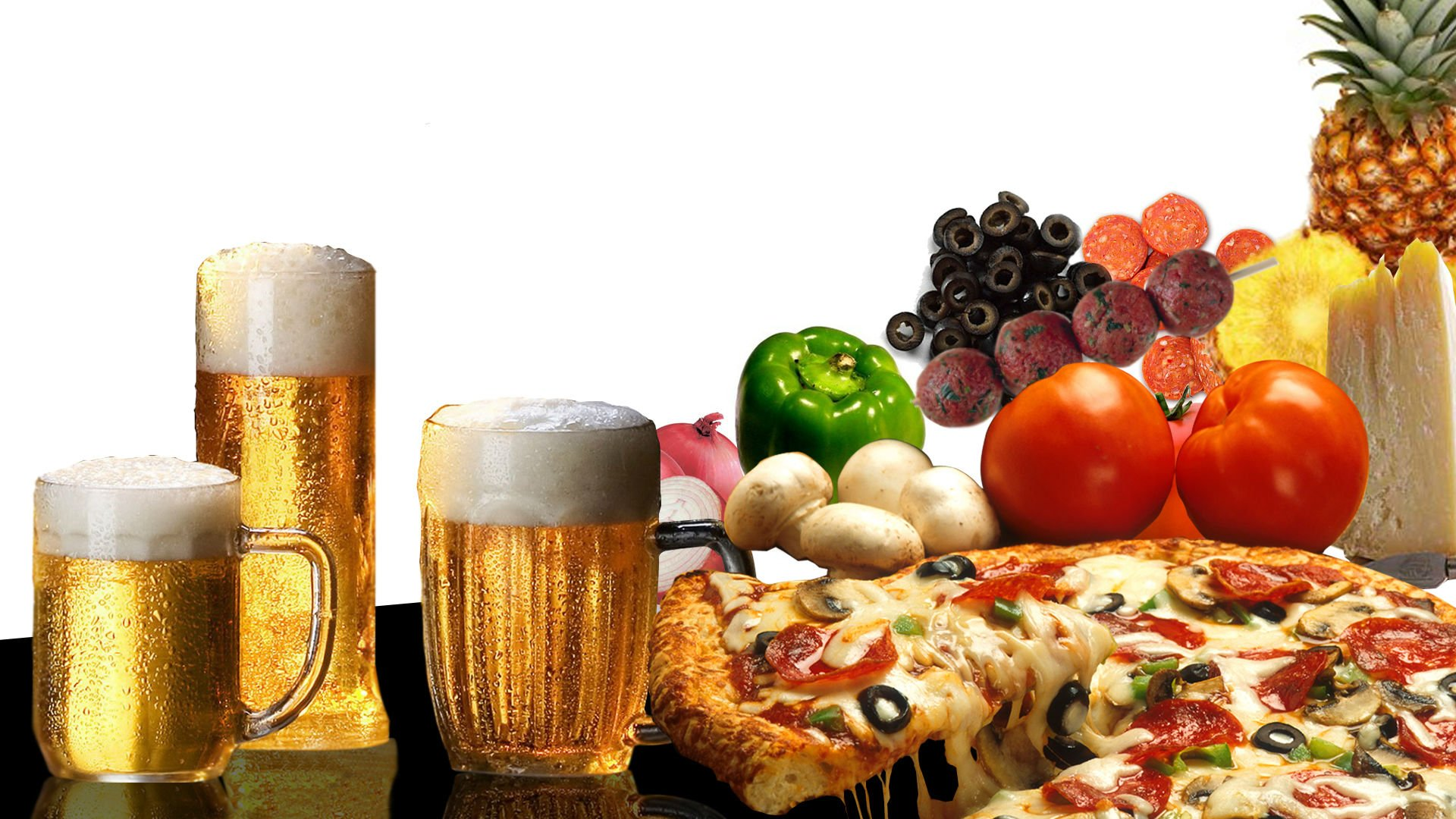 Beer alcohol drink poster pizza food wallpaper | 1920x1080 | 334842 ...