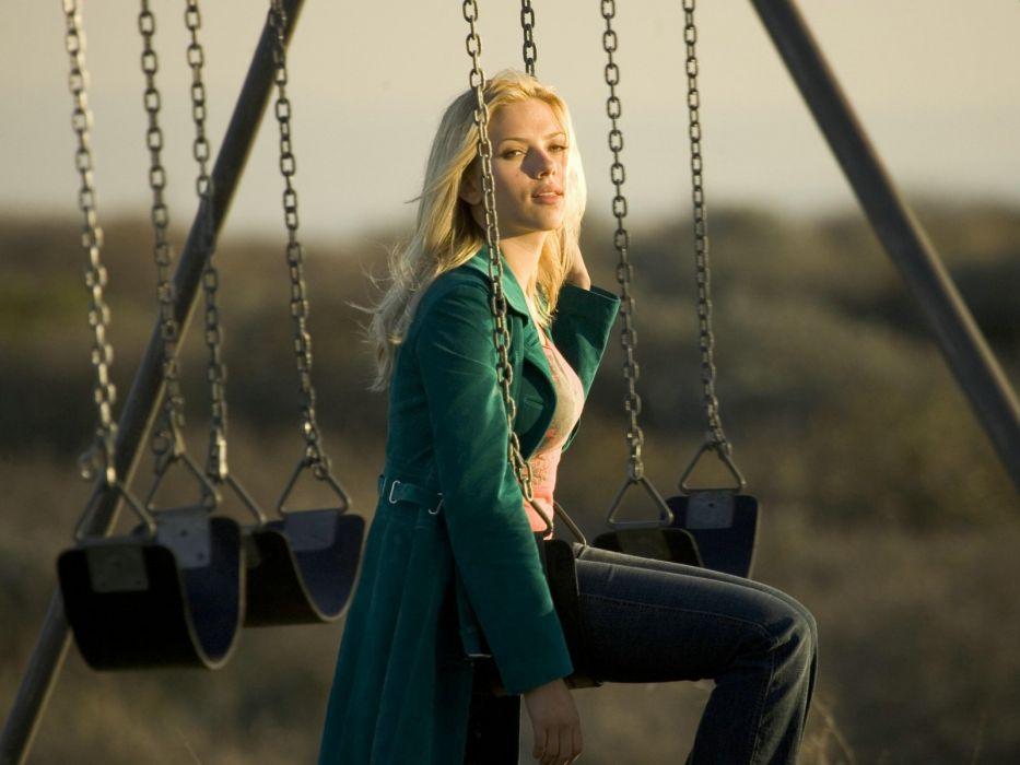 Scarlett Johansson actress swings The Island wallpaper