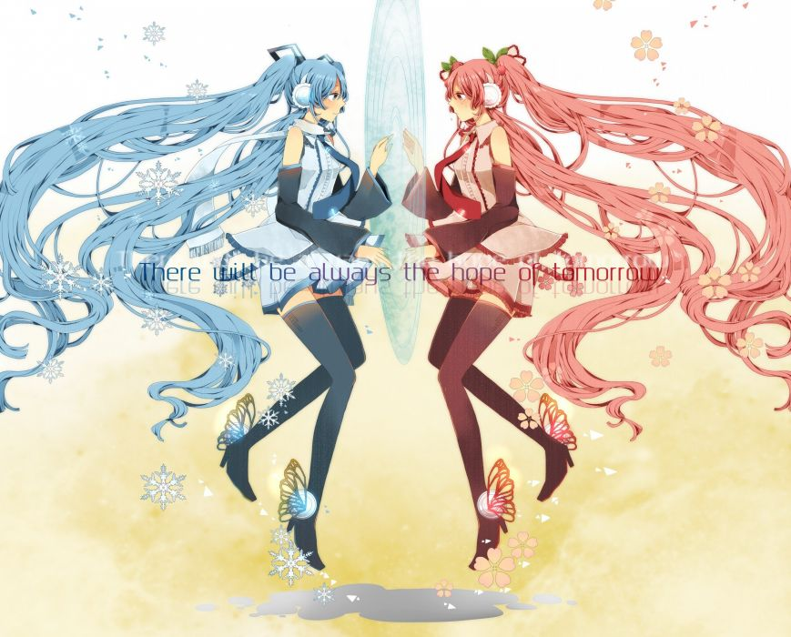headphones cherry blossoms Vocaloid flowers Hatsune Miku tie skirts long hair blue hair pink hair thigh highs twintails snowflakes scarfs Sakura Miku Yuki Miku detached sleeves Vocaloid Fanmade bare shoulders wallpaper