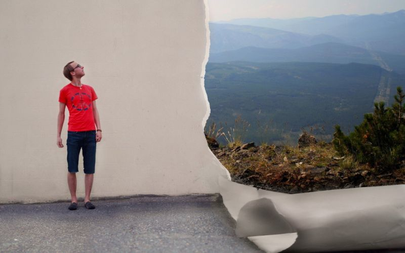 wall men scenic photo manipulation torn paper men with glasses looking up wallpaper