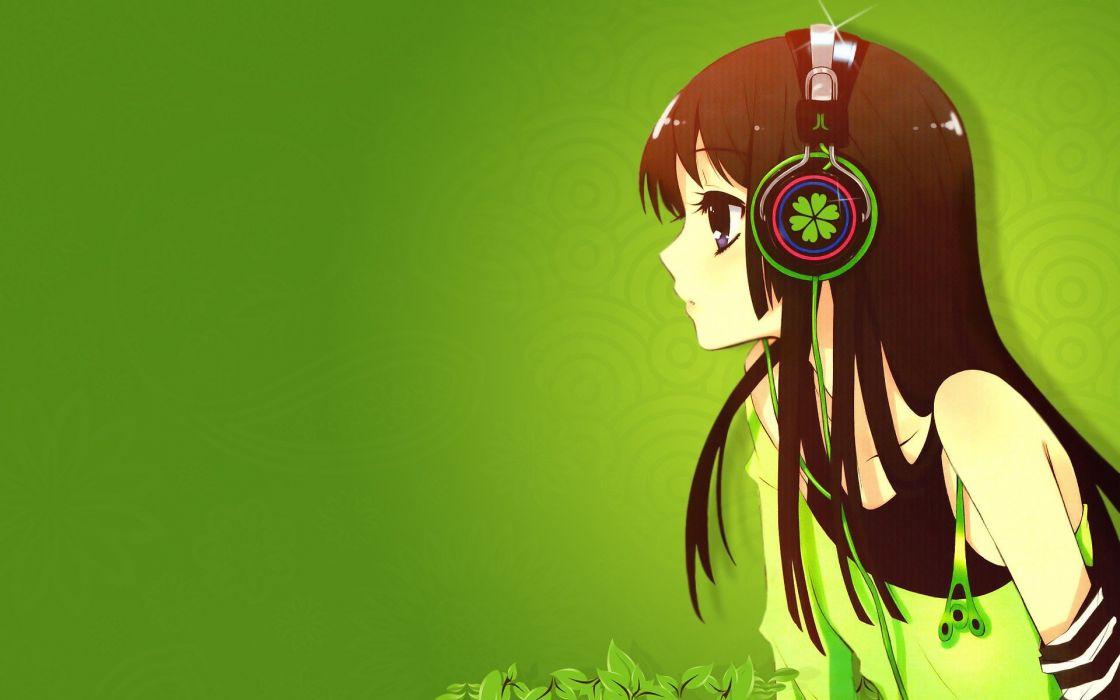 headphones green K-ON! Akiyama Mio anime simple background anime girls wallpaper