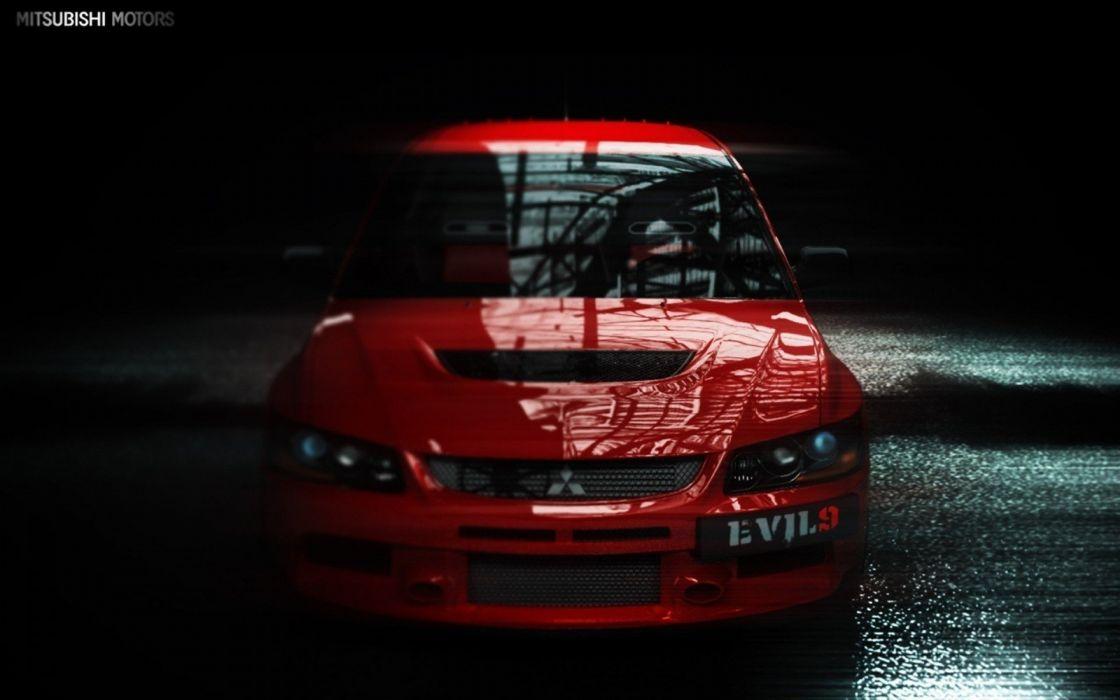 red cars Mitsubishi Mitsubishi Lancer Evolution wallpaper