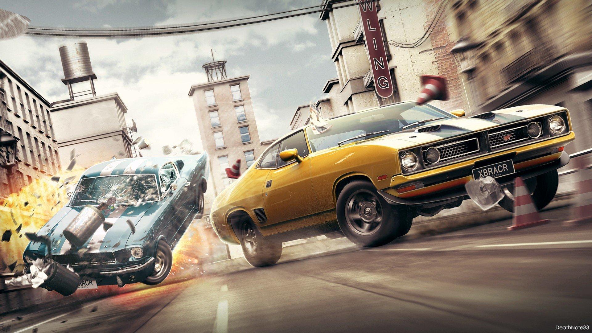 Muscle Cars Crash Fantasy Art Wallpaper