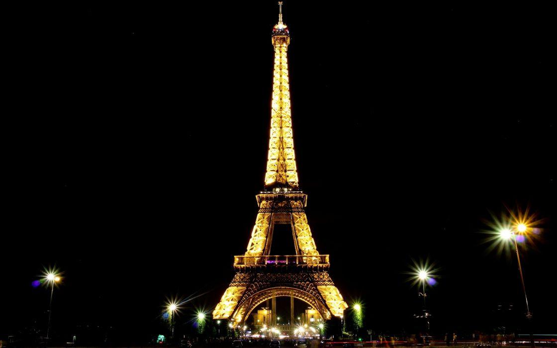 Eiffel Tower Paris landscapes night lights France skies night light wallpaper