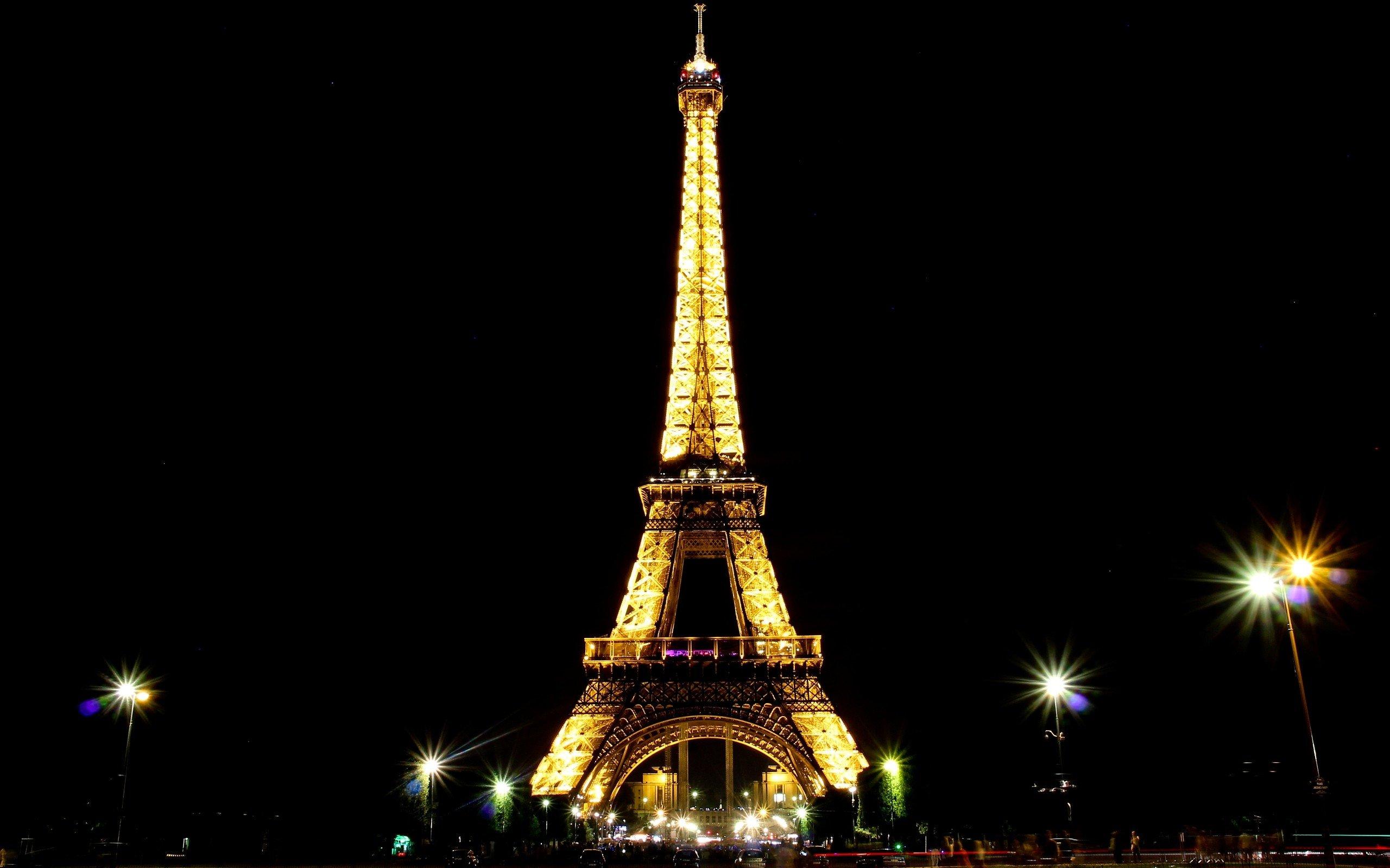 Eiffel Tower Paris Landscapes Night Lights France Skies Light Wallpaper