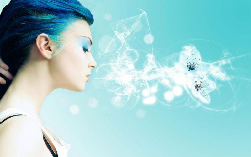 women abstract blue hair wallpaper