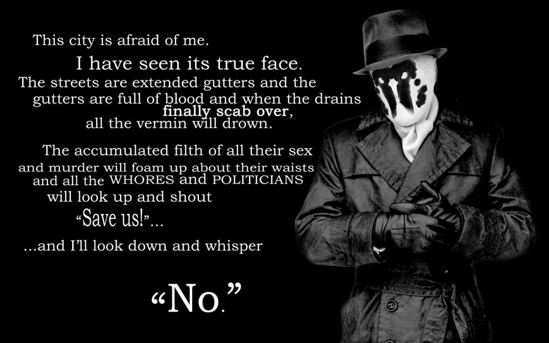 Watchmen quotes Rorschach typography grayscale wallpaper