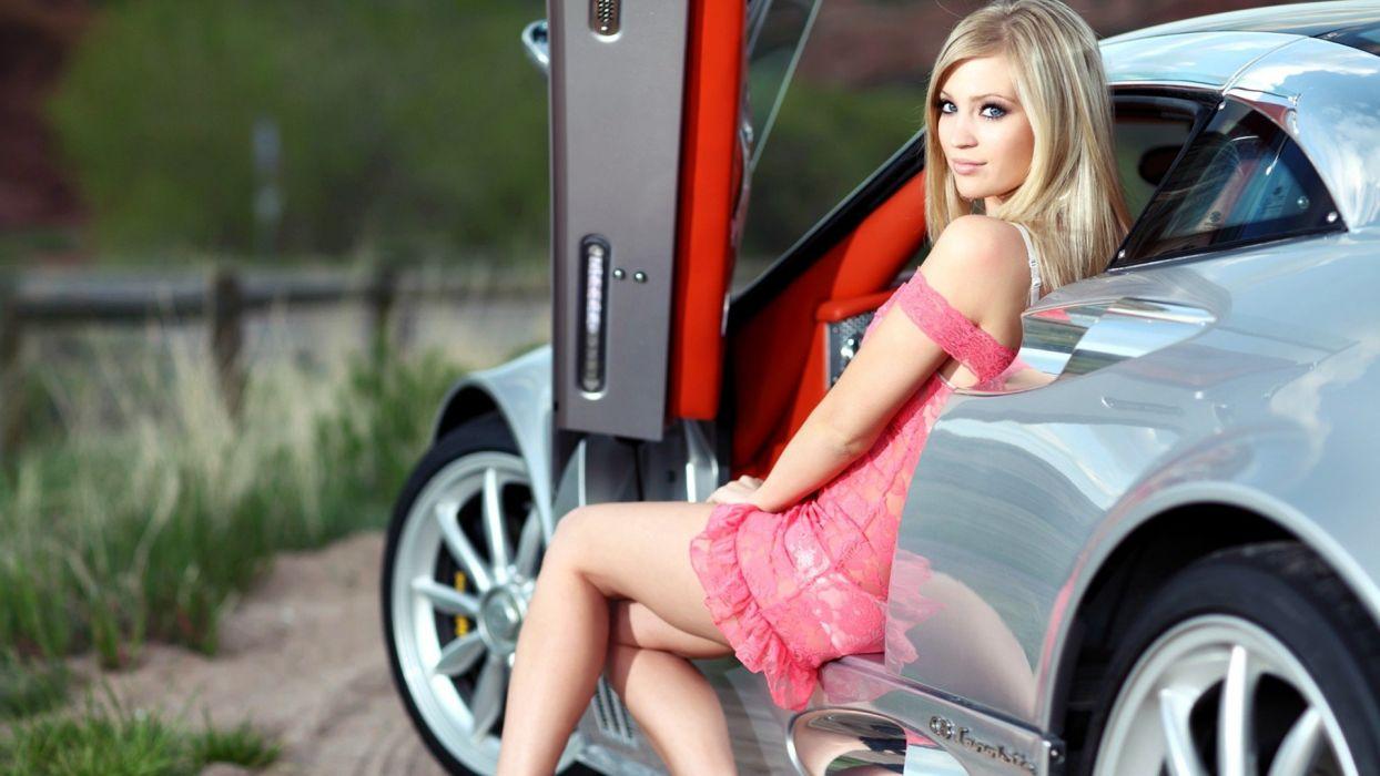 blondes legs women cars blue eyes spyker girls with cars Spyker C8 Laviolette wallpaper