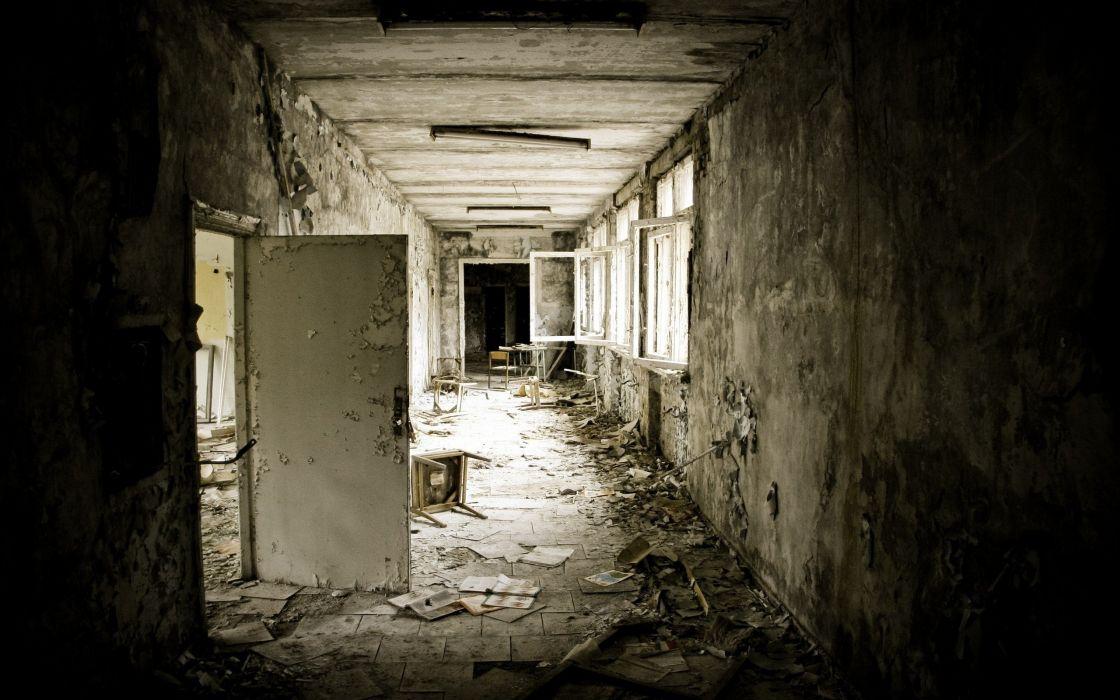 ruins old Pripyat Chernobyl interior wallpaper