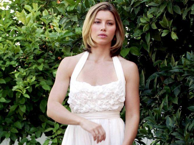 blondes women actress Jessica Biel white dress wallpaper