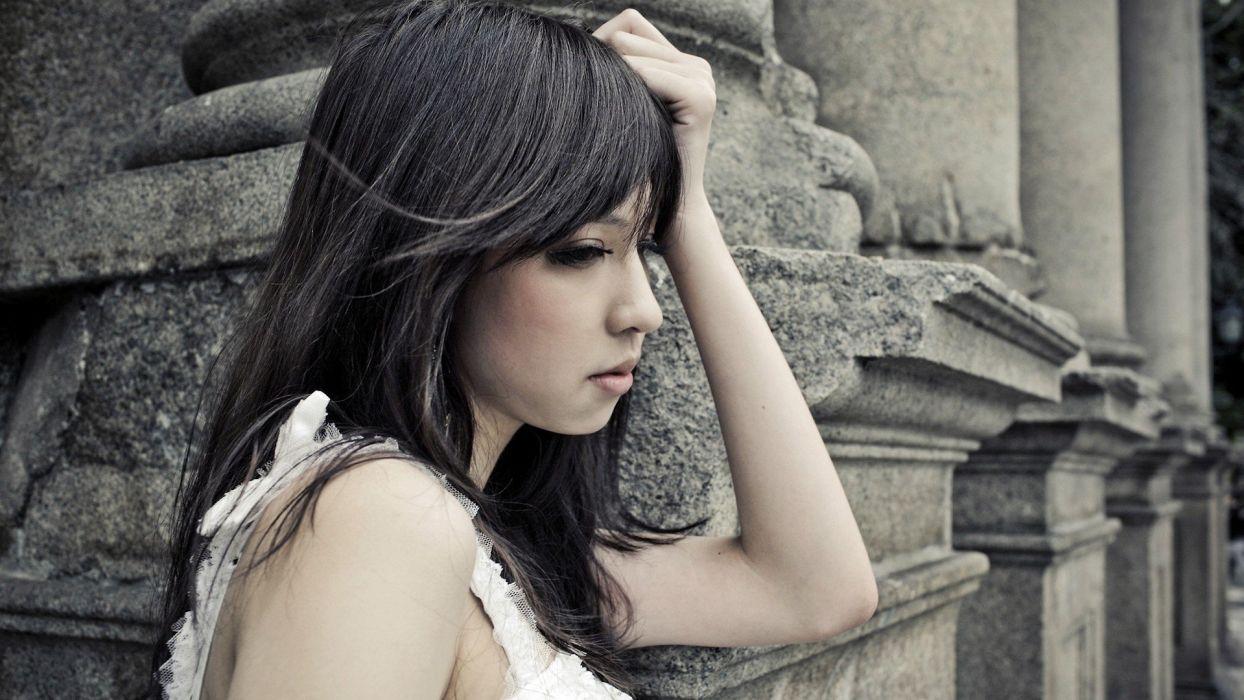 women models Asians faces black hair wallpaper