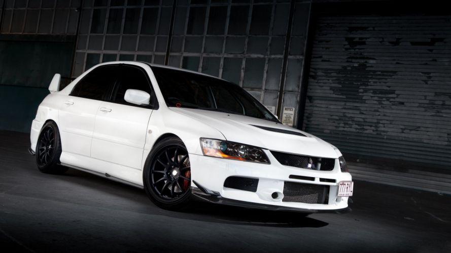 cars vehicles tuning white cars Mitsubishi Lancer Mitsubishi Lancer Evolution IX Mitsubishi Evo wallpaper