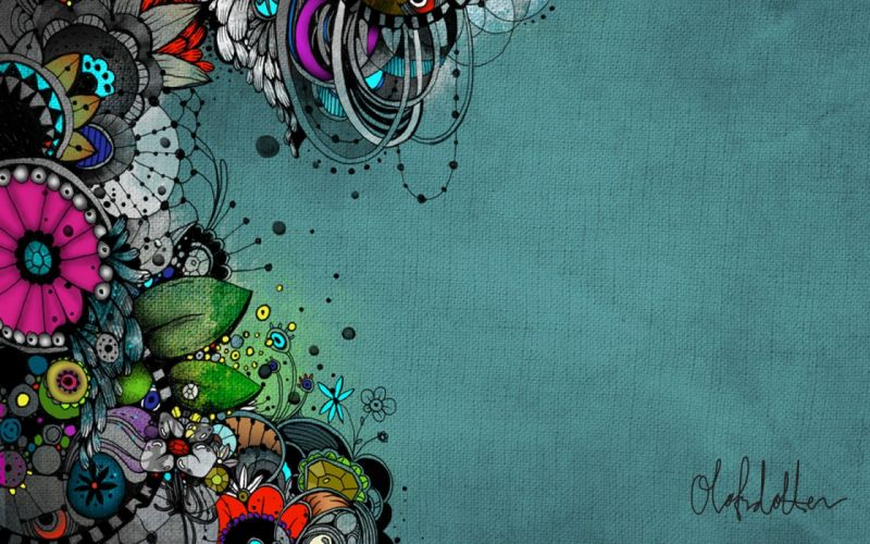 abstract flowers canvas wallpaper