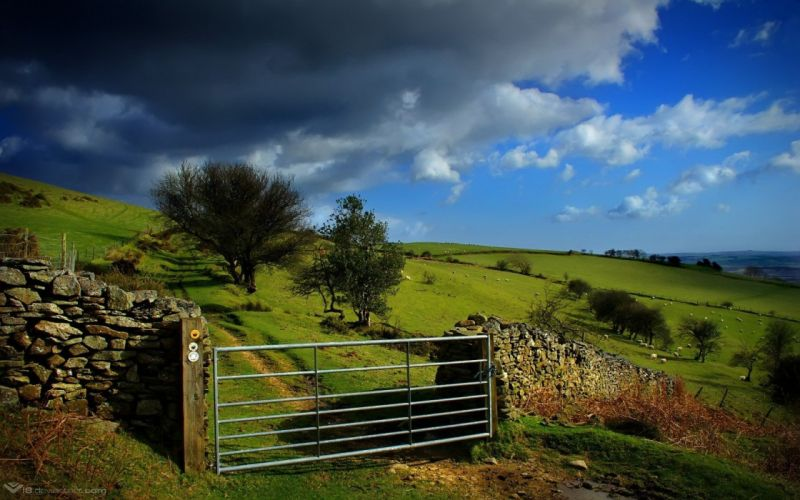 clouds landscapes nature gate wallpaper