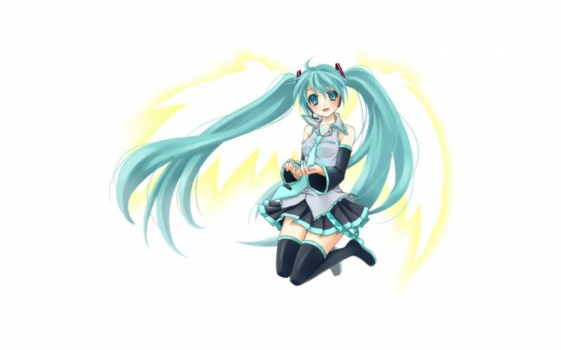 wings Vocaloid white Hatsune Miku thigh highs realism simple background anime girls detached sleeves wallpaper