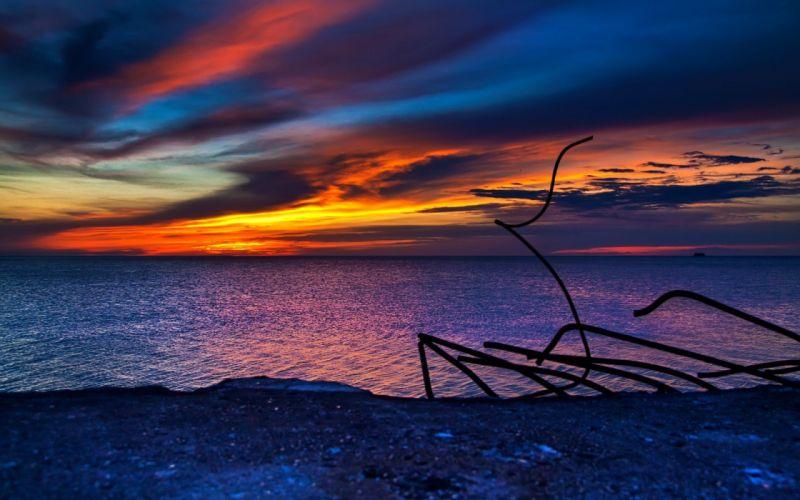 sunset ocean landscapes nature coast Sun God land colors sea wallpaper