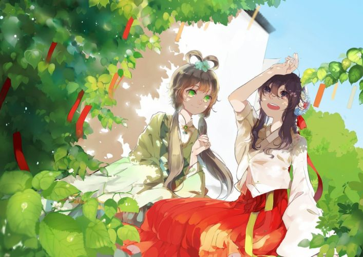 brunettes trees Vocaloid dress flowers long hair buildings shadows brown eyes green eyes twintails smiling sitting open mouth gray hair anime girls hair ornaments flower in hair Luo Tianyi skies Yuezheng Ling Chinese clothes wallpaper