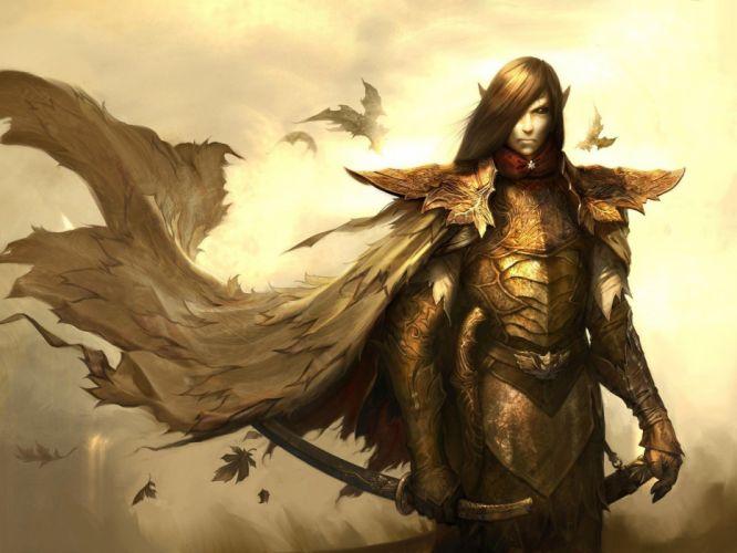 video games fantasy art armor digital art artwork Disciples 3 drow swords swordsman wallpaper