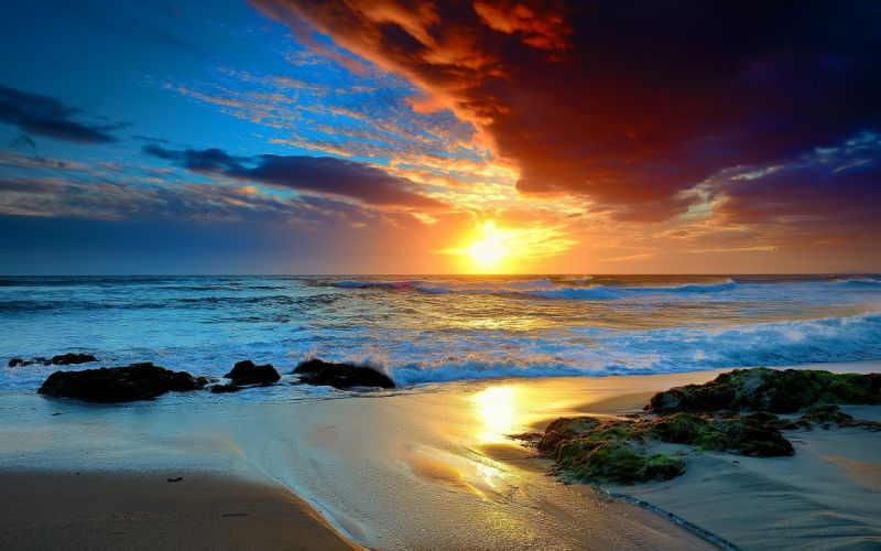 sunset landscapes nature sea beaches wallpaper