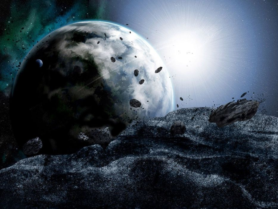 outer space planets rocks asteroids wallpaper