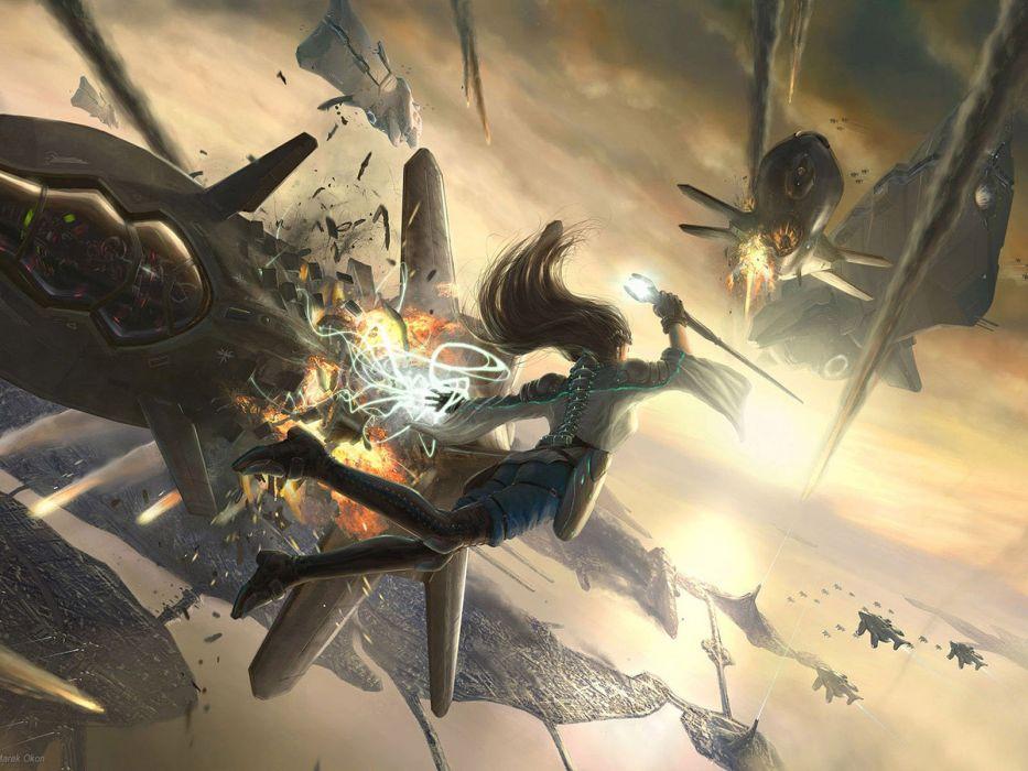 women fantasy combat magic wallpaper