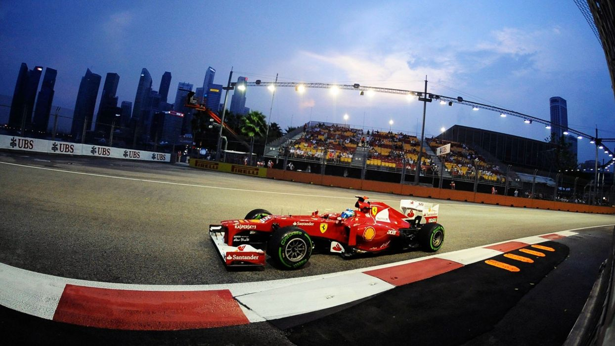 cars Ferrari Singapore Formula One Fernando Alonso Ferrari F2012 Night race Singapore GP wallpaper