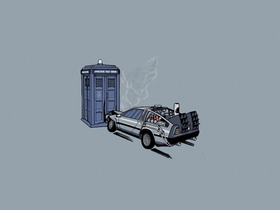 TARDIS Back to the Future time travel Doctor Who crossovers DeLorean DMC-12 simple background wallpaper