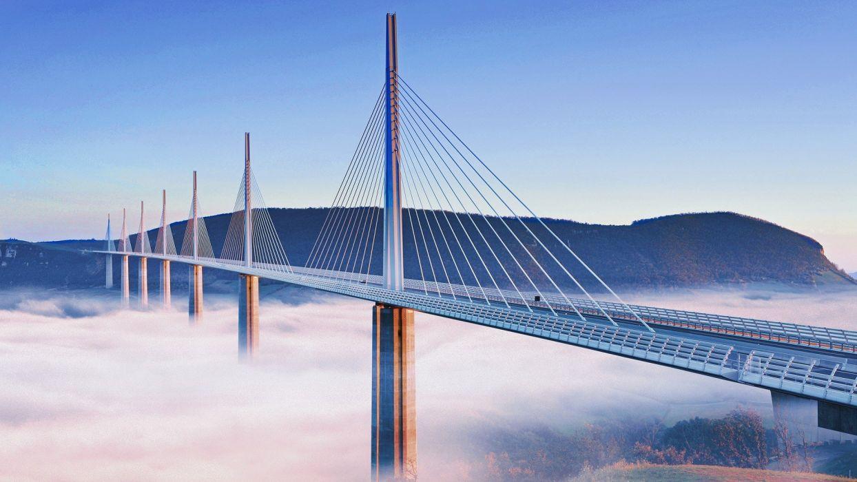 France fog Millau viaduct wallpaper