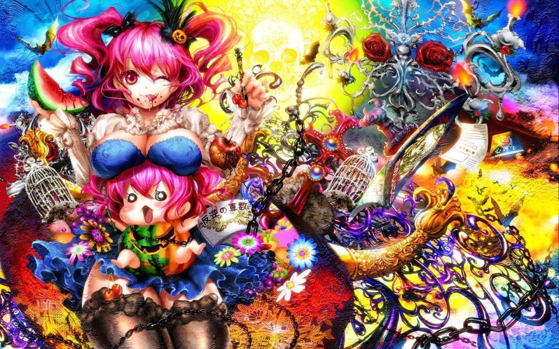 Touhou chibi sweets (candies) pink hair red eyes Onozuka Komachi anime girls wallpaper