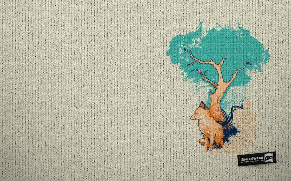 trees DeviantART textures artwork foxes fabric wallpaper