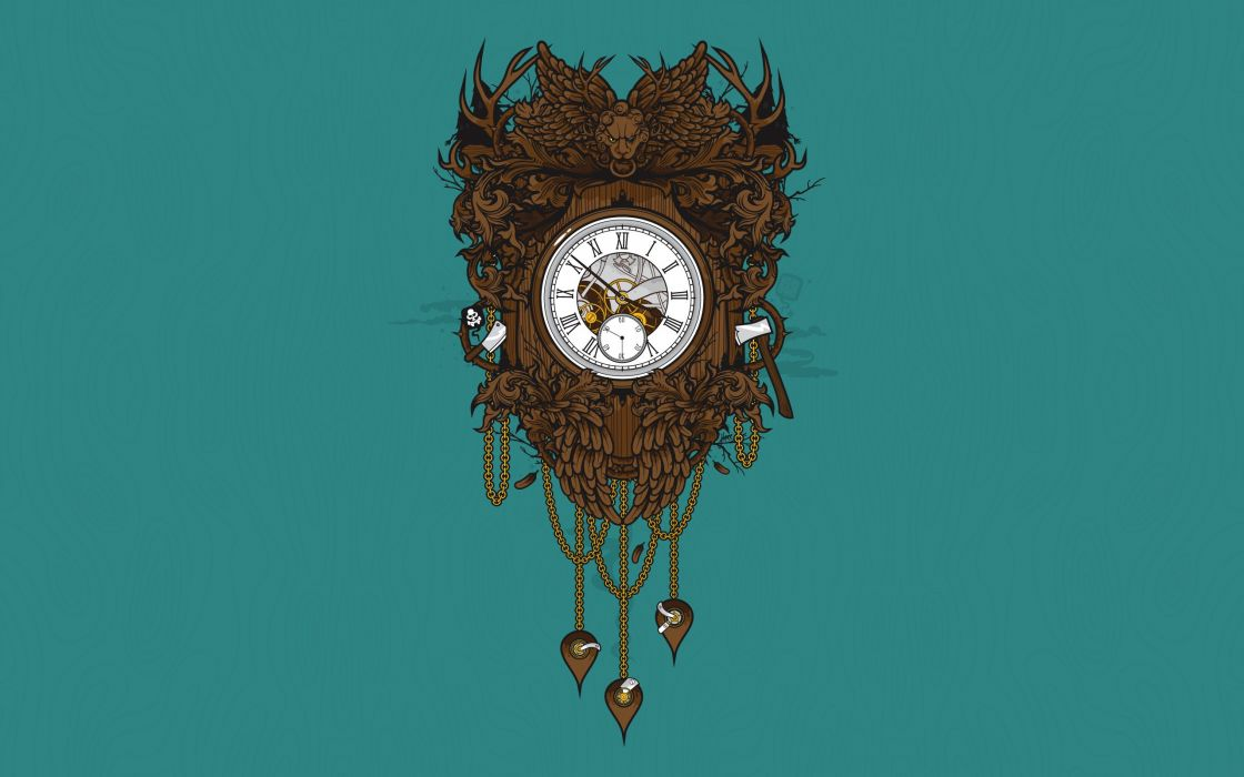 clocks objects teal simple background JThree Concepts wood carving Jared Nickerson wallpaper