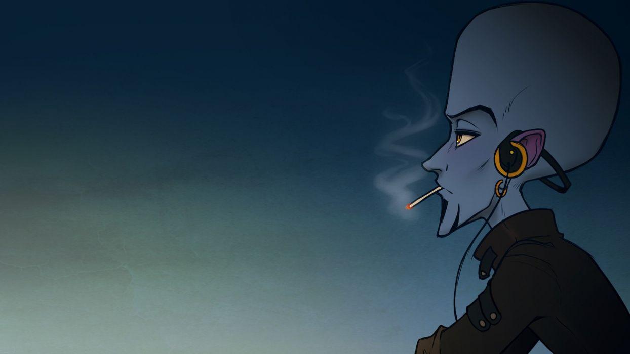 headphones cartoons blue music smoke punk smokes Rock music Megamind smoker wallpaper
