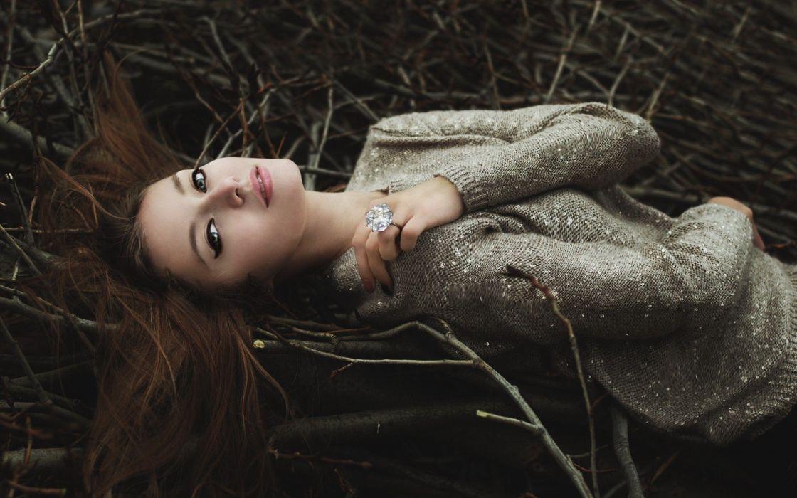 brunettes women lying down twig wallpaper