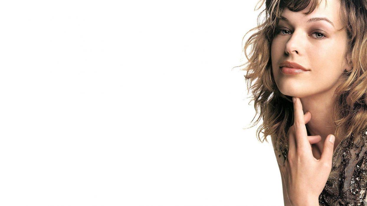 women dress actress lips celebrity Milla Jovovich white background wallpaper