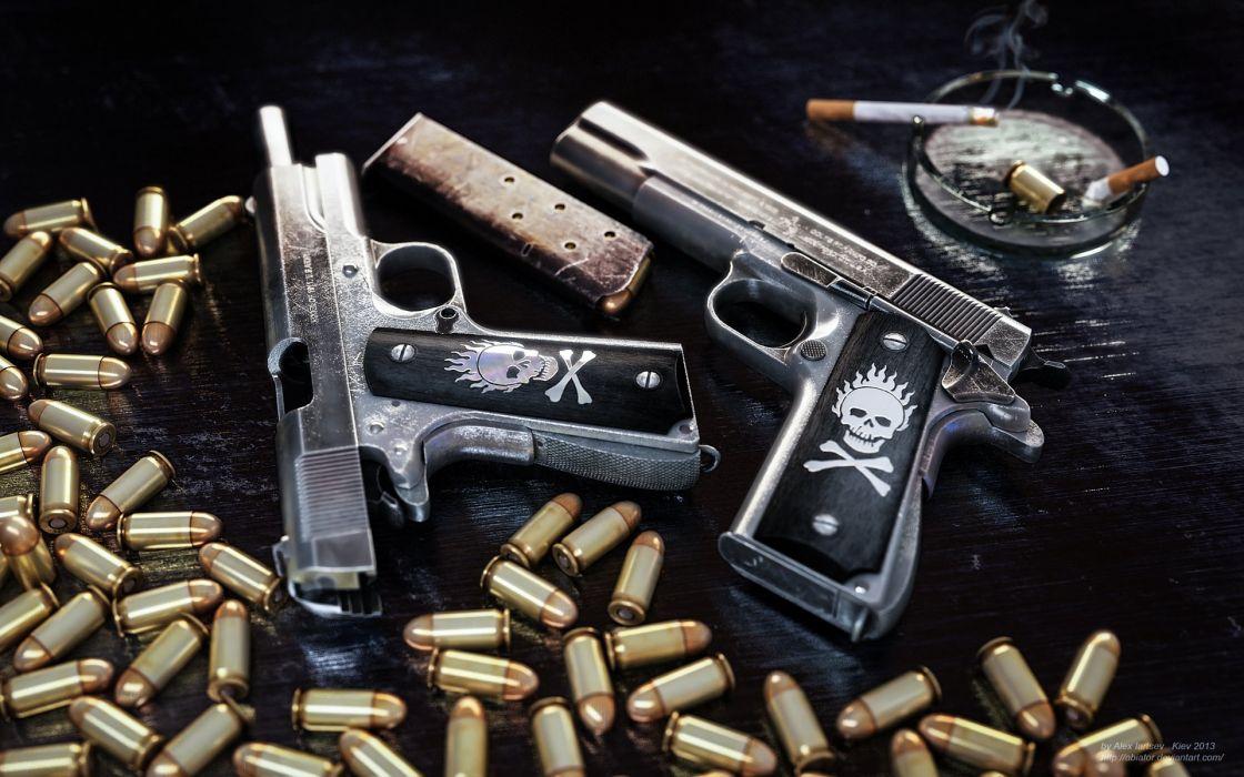 1911 pistol ammunition clip colt ammo weapon gun skull wallpaper
