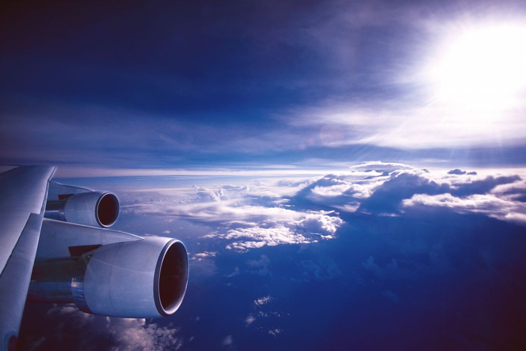 aviation wing engine sky clouds wallpaper