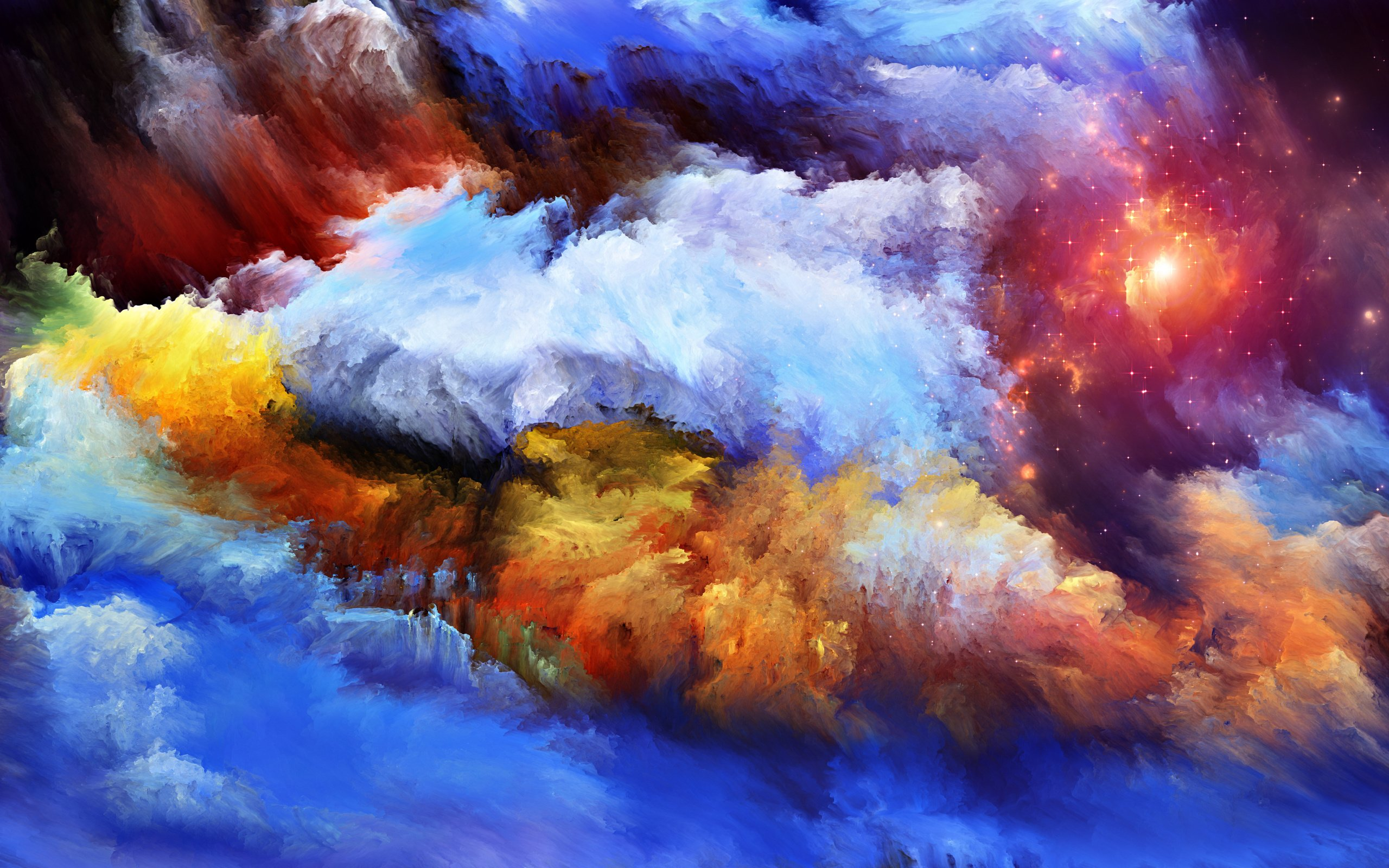 Colourful Fantasy Cloud Backgrounds: Artwork Space Stars Nebula Painting Wallpaper