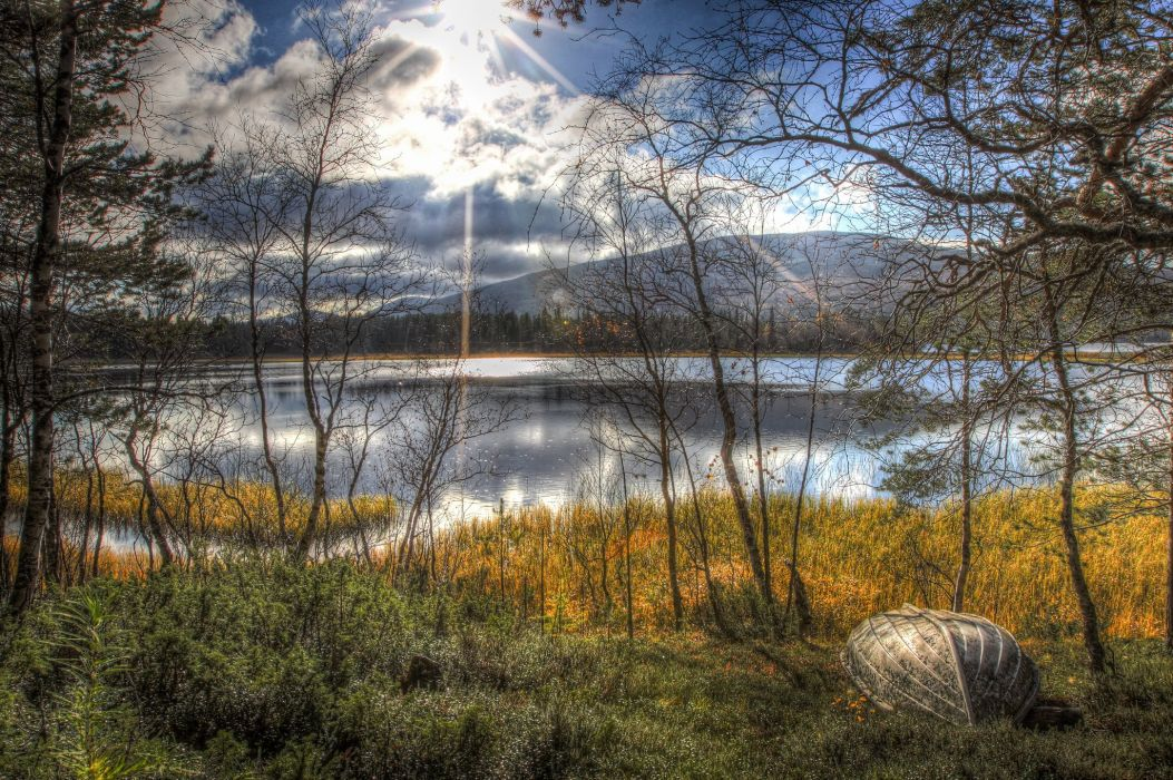 autumn lake trees boat sun landscape wallpaper