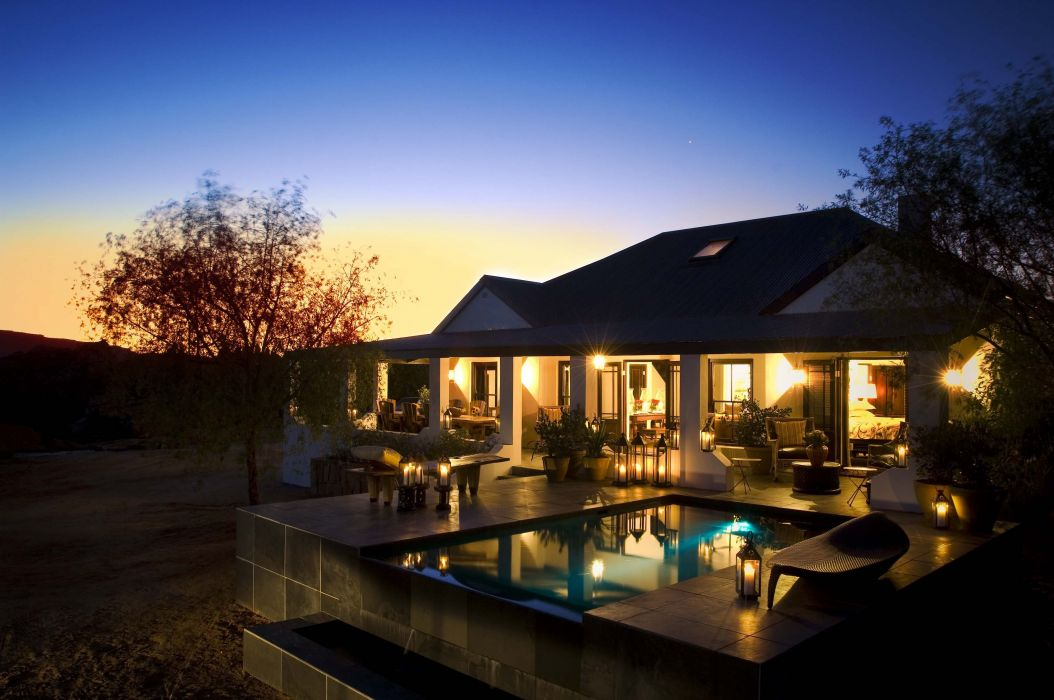 candles swimming pool villa evening vacation reflection house design wallpaper