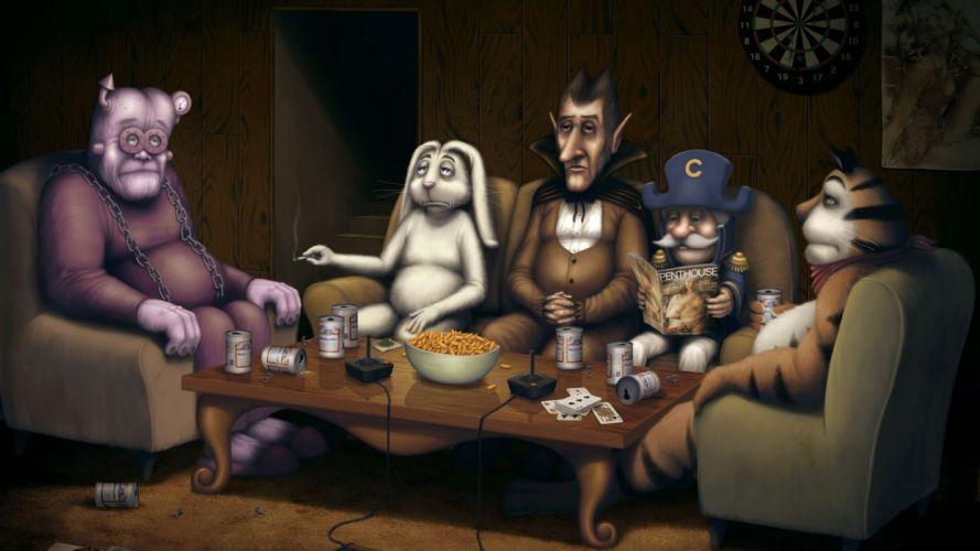 breakfast cereal humor funny vampire dark fantasy tiger rabbit monster wallpaper