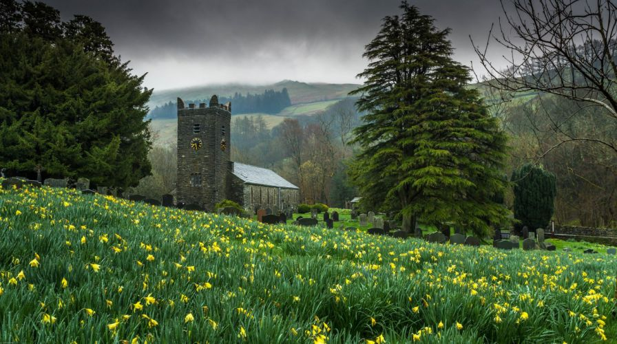 chapel nature trees clocks meadow flowers graveyard church religion wallpaper
