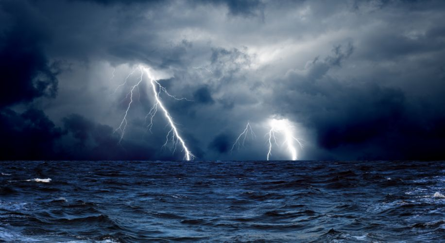 clouds waves sea storm lightning ocean wallpaper